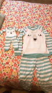 Girls pjs size 7/8 with matching set for doll