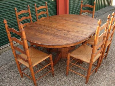 Vintage Solid Oak Table W6 Ladder back Chairs