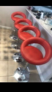 Red bar stools set of 4 new