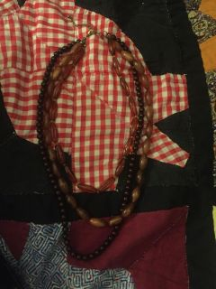 3 layer brown necklace