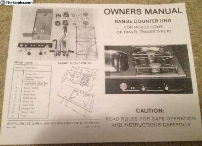 Gas range stove owners manual Westfalia campmobile