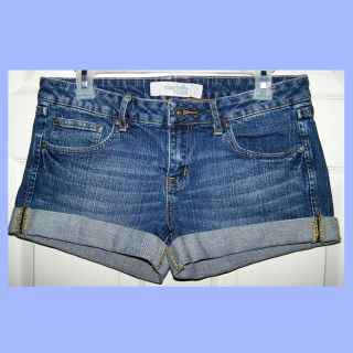SIZE 10 - DEMIN SHORTS WORN LOOK STYLE with CUFFED LEGS by CHARLOTTE RUSSE