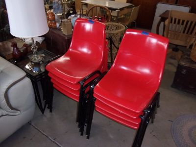 Set of Eight Stackable Red Chairs