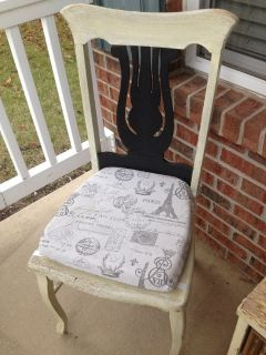 (set of 2) Antique harp back chairs! White Chalk & Black, Shabby, distressed, rustic, vintage!