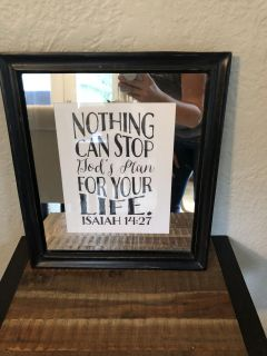 8x10 pottery barn picture frame, mirror mat & Etsy print