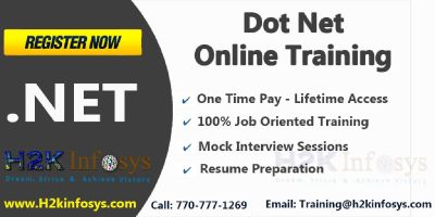 .Net online training, Job asst. and free real time experience by H2kinfosys.