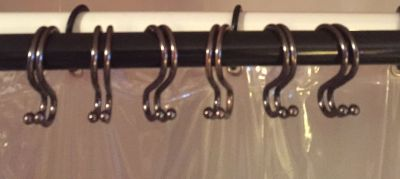 12 Bronze Metal shower curtain hooks