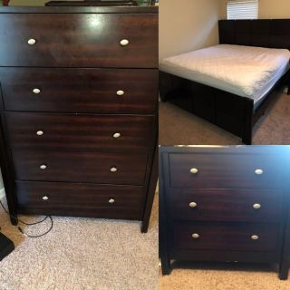 Dresser, Nightstand, and King Size Bed Frame
