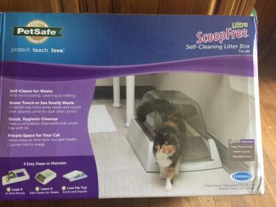 NEW,Scoop free, self cleaning litter box