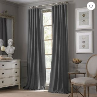 NEW-Pair of Valeron Estate Cotton Linen 84-Inch Rod Pocket Window Curtain Panel in Charcoal
