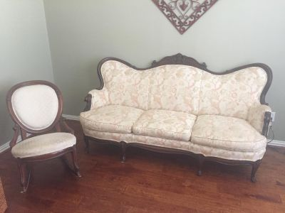 Victorian Couch and Rocking Chair