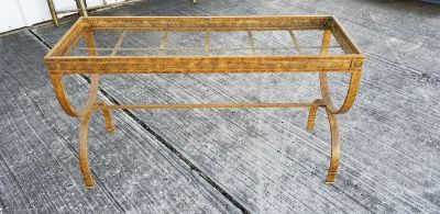 GOLD METAL AND GLASS SOFA TABLE