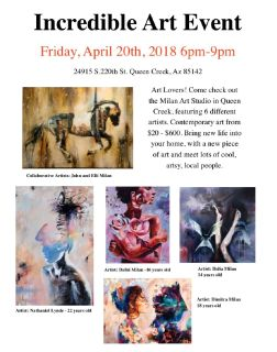 Incredible Art Event April 20th 6:pm - 9:pm