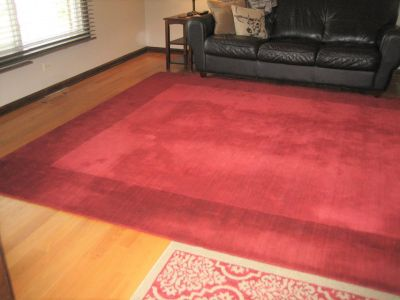 Beautiful Cranberry Wool Carpet / Area Rug - 9' x 12' - Pottery Barn