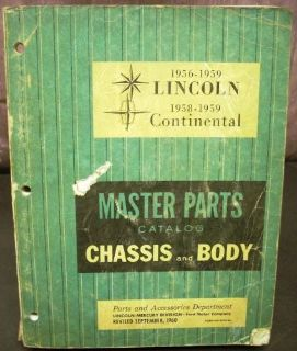 Sell Original 1956-1959 Lincoln Chassis Body Parts Catalog Book Continental Premiere motorcycle in Holts Summit, Missouri, United States, for US $89.98