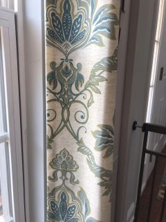 Beige and blue curtains