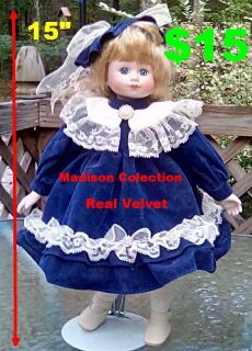 Madison Lee Limited Collection 15 Porcelain Doll Blue Authentic Velvet Dress. IN NEW CONDITION