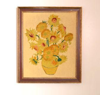 Crewel fiber art Wall hanging of Van Gogh Sunflow