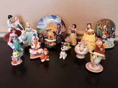 Disney figurines collectibles, Lion King plate and Beauty/Beast Snow Globe from 1989-1994