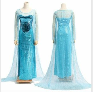 Adult Size Disney Frozen Queen Elsa Halloween Costume Gowns
