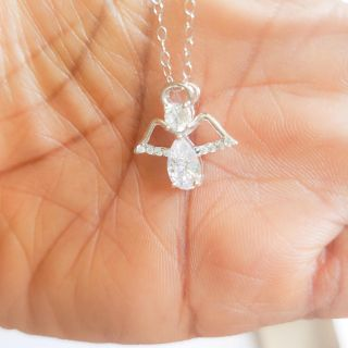 NewSterling Silver Cubic Zirconia Angel Necklace
