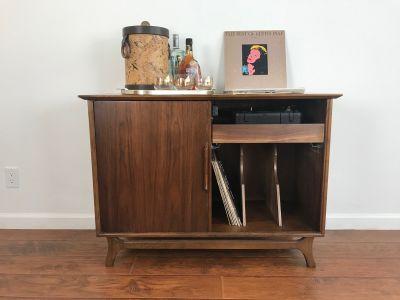 Mid Century Modern Record Player Cabinet/Wine Rack
