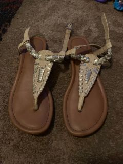 Rampage 6 tan/silver sandals - ppu (near old chemstrand & 29) or PU @ the Marcus Pointe Thrift Store (on W st)