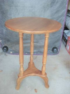 SOLID OAK ROUND END TABLE