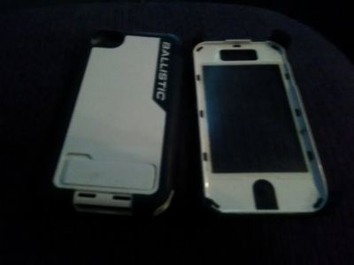 iphone4/4S Ballistic black and white case with kickstand