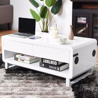 www.theit.shop - White - Modern Coffee Table w/ Bluetooth Speakers