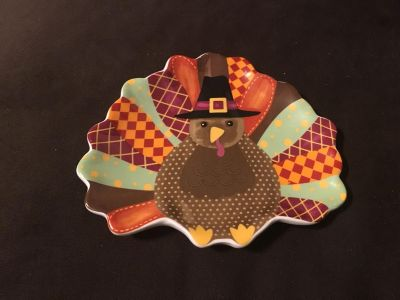 Cute Thanksgiving Turkey Dish Plate - 7 1/2 wide by 6 1/2 tall