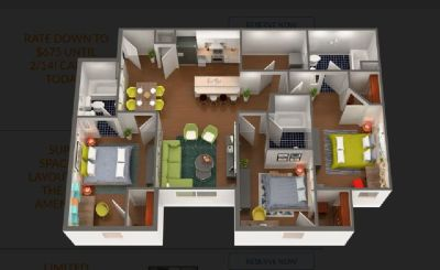Subleasing 1 Bedroom w/ Individual Bathroom, furnished at South Bend