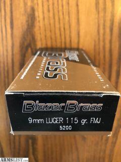 For Sale: Blazer Brass 9mm 115 FMJ