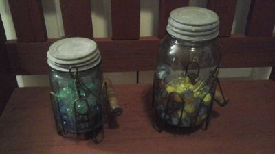 Antique Blue Ball Mason Jars With Marbles Inside