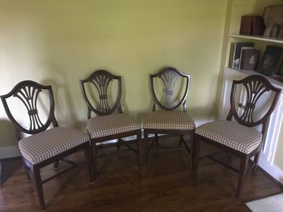 (4) Antique Colonial Shieldback Chairs