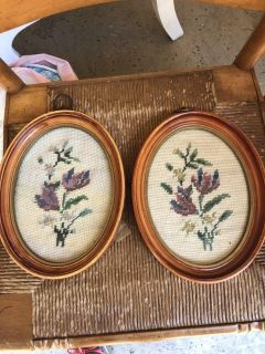 Set of two vintage needlepoint pictures. 7 by 9 . Cross posted.