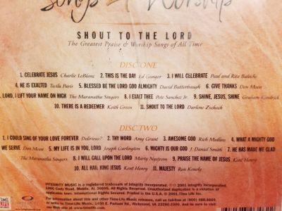 Songs 4 Worship Shout to the Lord by Various Artists CD Feb-2001 2 Discs Gospel