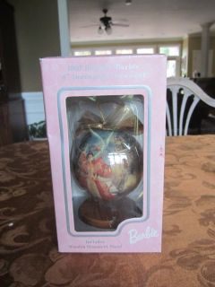 "1997 Holiday Barbie 4"" Decoupage Ornament w/ Wooden Stand"