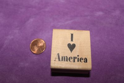 Wooden Rubber Stamp: I (Love) America