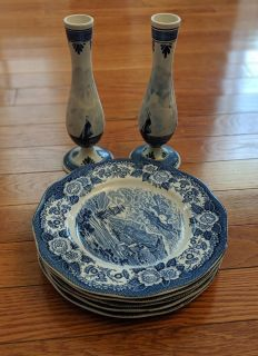 Dinner Plates and Candle Holders Lochs of Scotland Blue by ROYAL WARWICK matching set