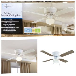 "42"" Mainstays Hugger Indoor Ceiling Fan with Light, White"