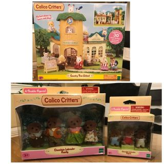 Calico Critters Tree School with Family and Triplets included.