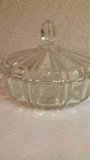 A Vintage Old Cafe heavy crystal candy dish with lid