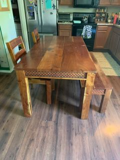 PRICE DROP- Solid acacia wood table with bench and 4 chairs