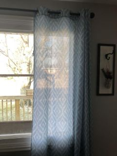 Blue pattern curtains