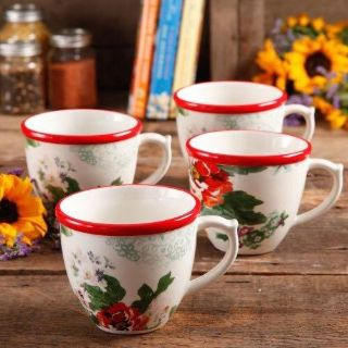 The Pioneer Woman Flea Market 17 Oz Decorated Coffee Cups, Count Ry Garden, Set of 4