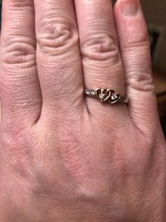 Beautiful heart sterling silver ring