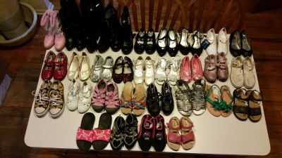 Lot 30 Pair Girls Dress Shoes, Sandals, Boots, Slippers and Water Shoes