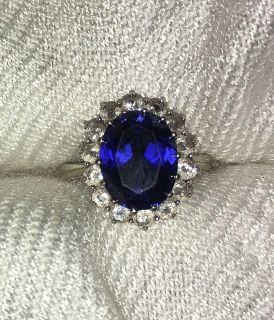 Lab Created Sapphire 10k White Gold Ring 7.5