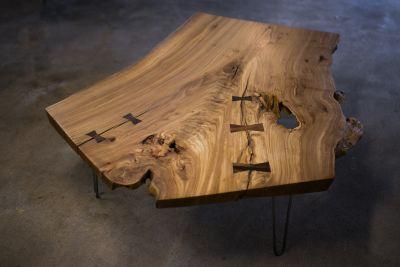 LARGE live edge elm coffee table
